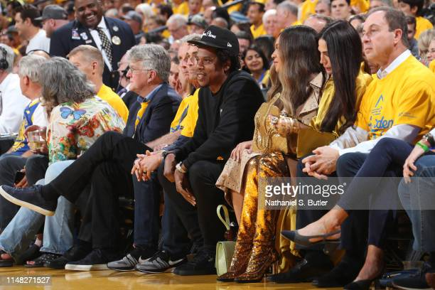 Jay-Z and Beyonce attend Game Three of the NBA Finals between the Toronto Raptors and the Golden State Warriors on June 5, 2019 at ORACLE Arena in...