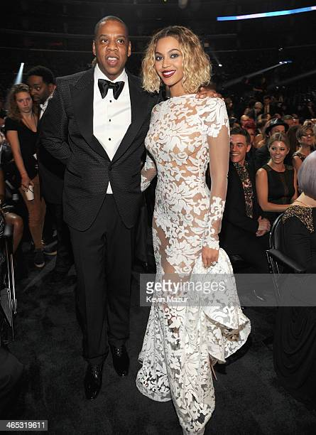 JayZ and Beyonce attend the 56th GRAMMY Awards at Staples Center on January 26 2014 in Los Angeles California