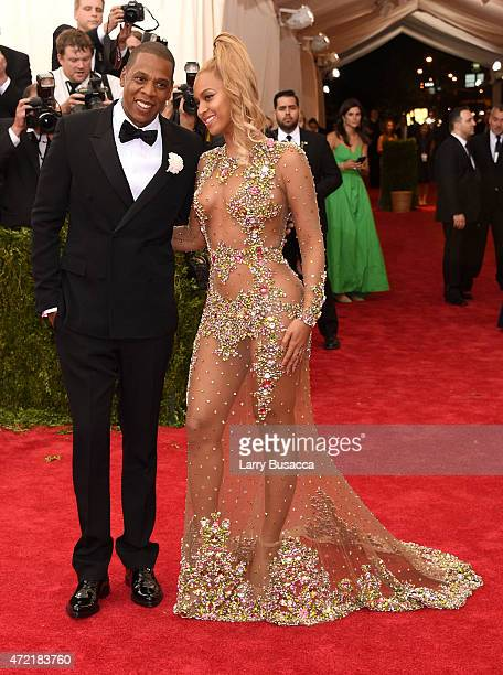JayZ and Beyonce attend the China Through The Looking Glass Costume Institute Benefit Gala at the Metropolitan Museum of Art on May 4 2015 in New...