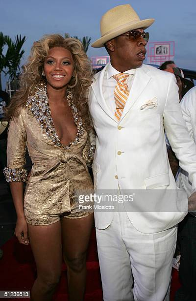 JayZ and Beyonce Knowles arrive at the 2004 MTV Video Music Awards at the American Airlines Arena August 29 2004 in Miami Florida