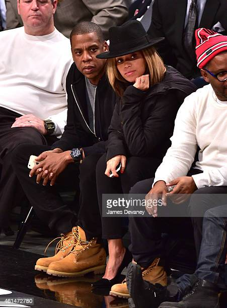 JayZ and Beyonce Knowles attend the Houston Rockets vs Brooklyn Nets game at Barclays Center on January 12 2015 in New York City