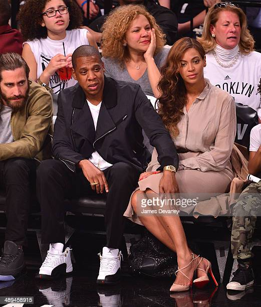 JayZ and Beyonce Knowles attend the Miami Heat vs Brooklyn Nets playoff game at Barclays Center on May 10 2014 in the Brooklyn borough of New York...