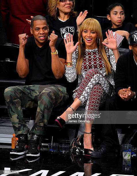 JayZ and Beyonce Knowles attend Toronto Raptors vs Brooklyn Nets game at Barclays Center on November 3 2012 in Brooklyn New York