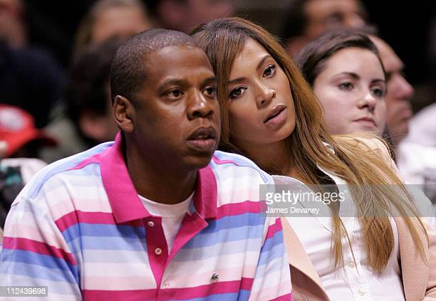 Jay-Z and Beyonce Knowles during Celebrities Attend Miami Heat vs New Jersey Nets Playoff Game - May 14, 2006 at Continental Arena in East...