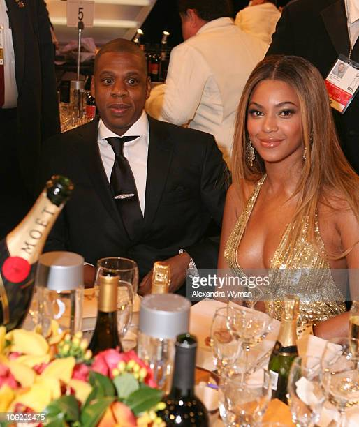 JayZ and Beyonce Knowles during Moet Chandon Inside Ballroom at the 64th Annual Golden Globe Awards at Beverly Hilton in Beverly Hills California...