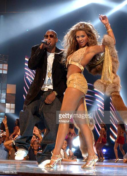 JayZ and Beyonce Knowles perform at the 2003 MTV Video Music Awards at the Radio City Music Hall in New York City New York