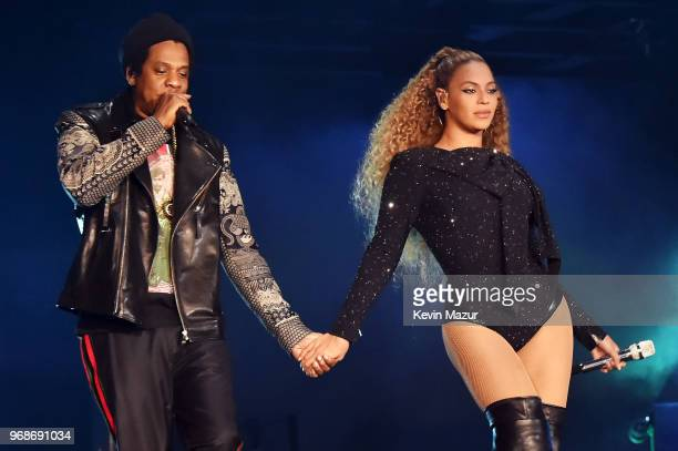 JayZ and Beyonce Knowles perform on stage during the 'On the Run II' tour opener at Principality Stadium on June 6 2018 in Cardiff Wales