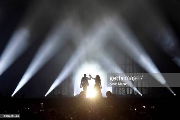 JayZ and Beyonce Knowles perform on stage during the On the Run II tour opener at Principality Stadium on June 6 2018 in Cardiff Wales