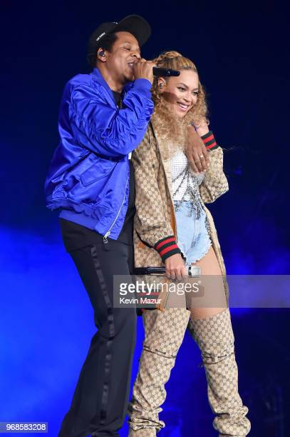 JayZ and Beyonce Knowles perform on stage during their 'On the Run II' tour opener at Principality Stadium on June 6 2018 in Cardiff Wales