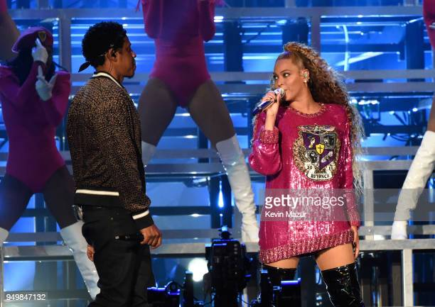 JayZ and Beyonce Knowles perform onstage during the 2018 Coachella Valley Music And Arts Festival at the Empire Polo Field on April 21 2018 in Indio...