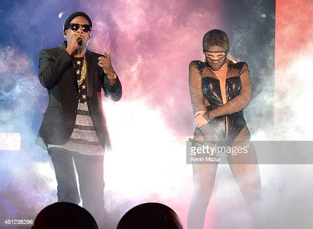 JayZ and Beyonce perform during opening night of the 'On The Run Tour Beyonce And JayZ' at Sun Life Stadium on June 25 2014 in Miami Gardens Florida