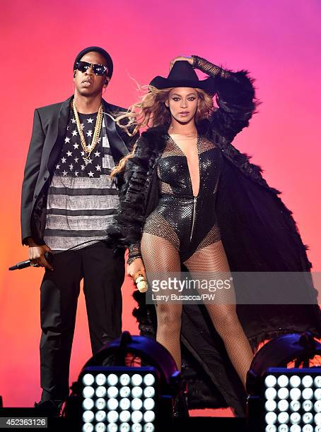 JayZ and Beyonce perform during the On The Run Tour Beyonce And JayZ at Minute Maid Park on July 18 2014 in Houston Texas