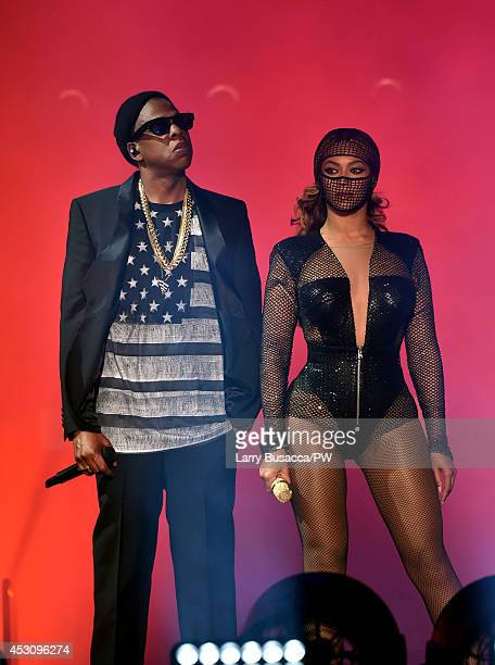 JayZ and Beyonce perform during the 'On The Run Tour Beyonce And JayZ' at the Rose Bowl on August 2 2014 in Pasadena California