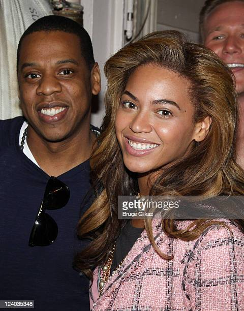 **EXCLUSIVE** JayZ and Beyonce pose backstage at the musical Chicago on Broadway at the Ambassador Theater on April 3 2010 in New York City
