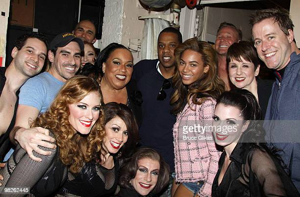 **EXCLUSIVE** JayZ and Beyonce pose backstage with the cast of the musical Chicago on Broadway at the Ambassador Theater on April 3 2010 in New York...