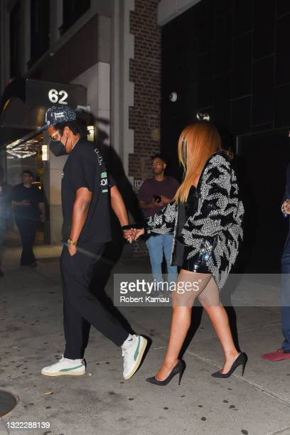 Jay-Z and Beyonce seen at an after party for the Nets vs Bucks Games on June 05, 2021 in New York City.