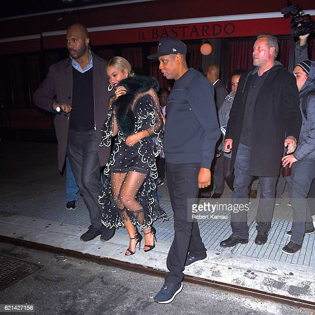 Jay-Z and Beyonce seen at the Saturday Night Live after party at Il Bastardo restaurant on November 5, 2016 in New York City.