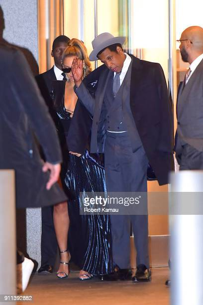 JayZ and Beyonce seen leaving The World Trade Center in Manhattan on January 27 2018 in New York City
