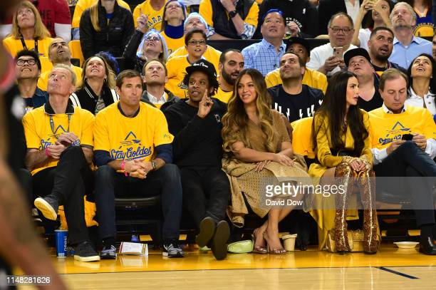 Jay-Z and Beyonce takes in the game of the Toronto Raptors against the Golden State Warriors during Game Three of the 2019 NBA Finals on JUNE 5, 2019...