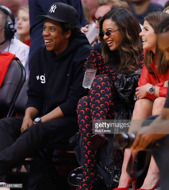 JayZ and Beyonce watch from courtside during Game Six of the Western Conference Semifinals of the 2019 NBA Playoffs at Toyota Center on May 10 2019...