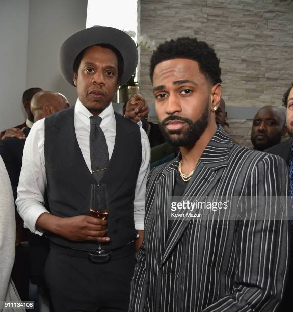 Jay-Z and Big Sean attend Roc Nation THE BRUNCH at One World Observatory on January 27, 2018 in New York City.