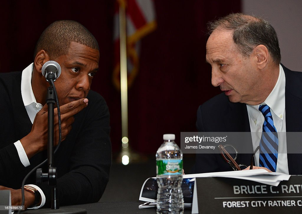 Jay-Z and Bruce Ratner attend Nassau Veterans Memorial Coliseum Presentation at Nassau County Police Department Headquarters on May 2, 2013 in Mineola, New York.
