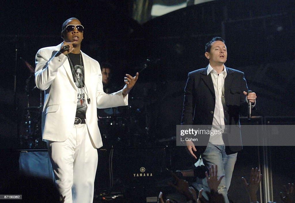 Jay-Z and Chester Bennington of Linkin Park perform
