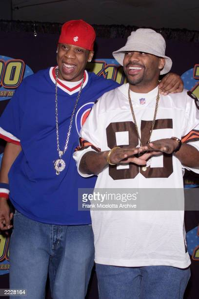 JayZ and Damon Dash backstage at the Z100 Jingle Ball 2001 at Madison Square Garden in New York City Thursday December 13 2001 Photo by Frank...