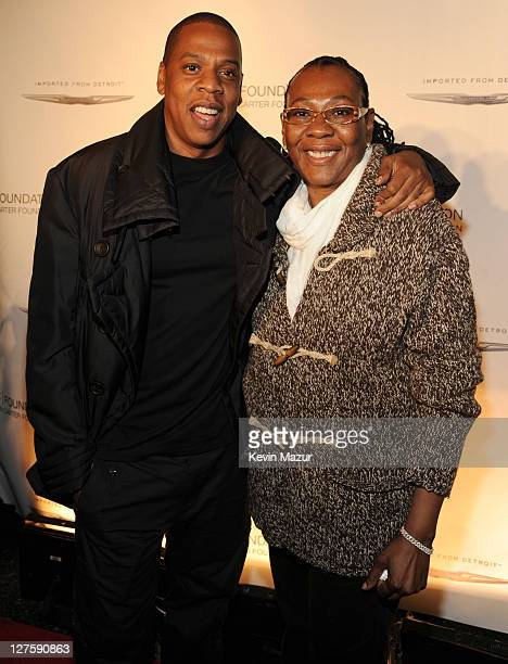 JayZ and Gloria Carter attend an evening of Making The Ordinary Extraordinary hosted by The Shawn Carter Foundation at Pier 54 on September 29 2011...
