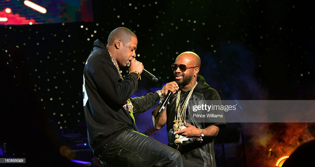 Jay-Z and Jermain Dupri perform at the So So Def 20th anniversary concert at the Fox Theater on February 23, 2013 in Atlanta, Georgia.