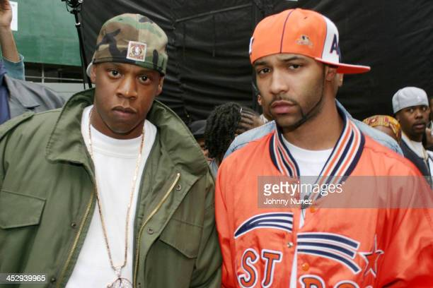JayZ and Joe Budden during The New York City Hip Hop Summit Rally for the Repeal of the Rockefeller Drug Laws at City Hall in New York City New York...