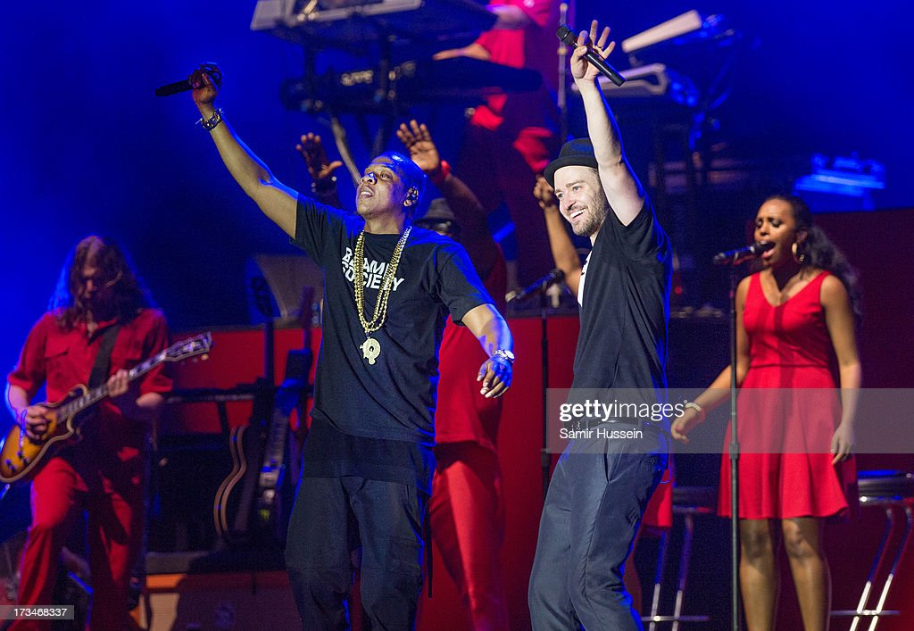 Jay-Z and Justin Timberlake perform on the main stage on day 3 of the Yahoo! Wireless Festival at Queen Elizabeth Olympic Park on July 14, 2013 in London, England.