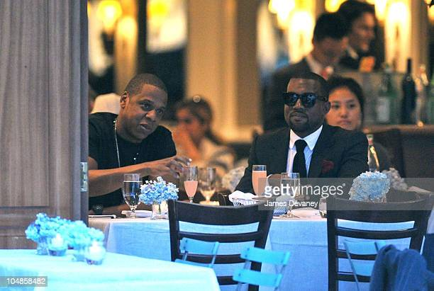 JayZ and Kanye West dine at Nello's restaurant on July 30 2010 in New York City
