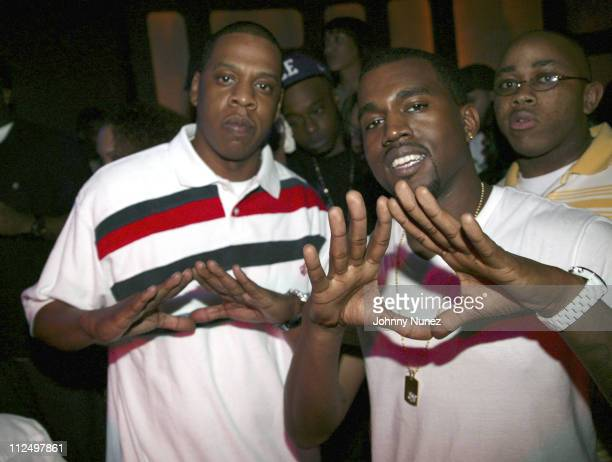 JayZ and Kanye West during GOOD Music and Groovevoltcom Presents XXL Appreciation Celebration Hosted by Kanye West and Common at Seventeen in New...