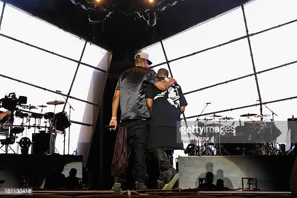 JayZ and Kanye West perform during the Budweiser Made In America Festival Benefiting The United Way Day 1 at Benjamin Franklin Parkway on September 1...