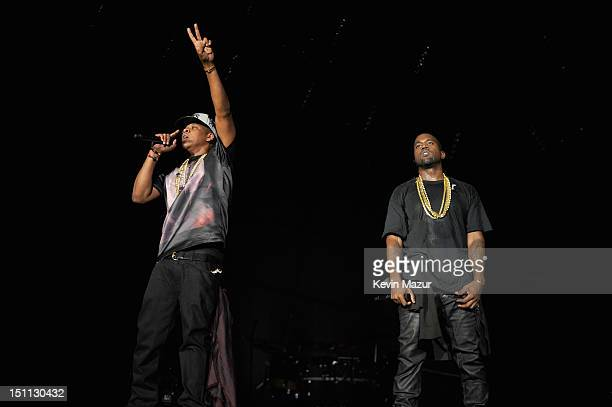 Jay-Z and Kanye West perform during the Budweiser Made In America Festival Benefiting The United Way - Day 1 at Benjamin Franklin Parkway on...