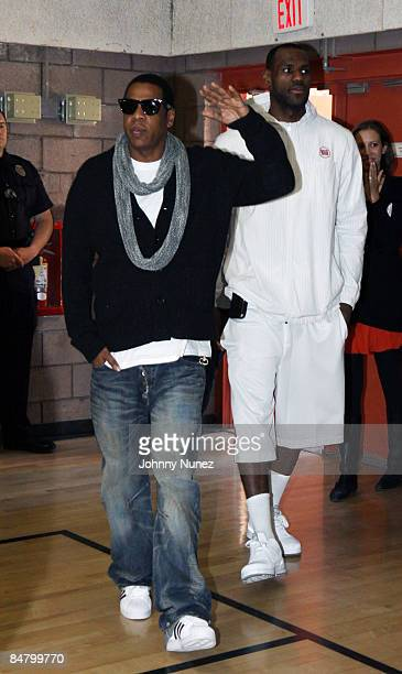 JayZ and Lebron James attend the Sprite Green Instrument Donation on February 14 2009 in Mesa Arizona