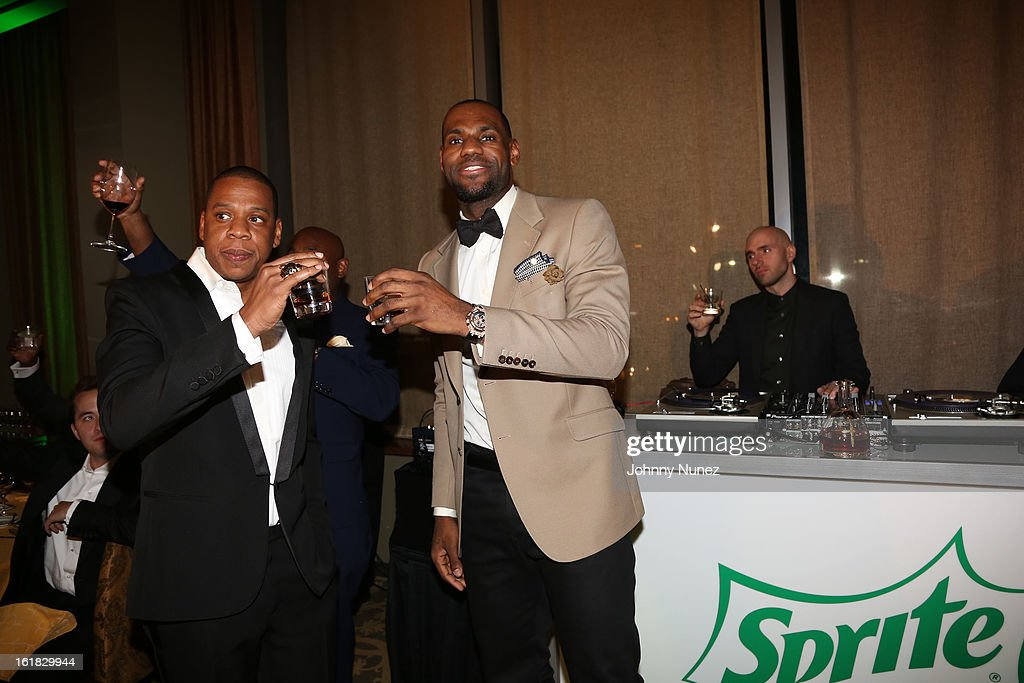 Jay-Z and LeBron James attend The Two Kings Dinner presented by Sprite at RDG + Bar Annie on February 16, 2013 in Houston, Texas.