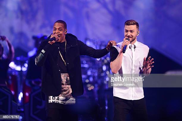 JayZ and musician Justin Timberlake perform on stage at Barclays Center on December 14 2014 in the Brooklyn borough of New York City