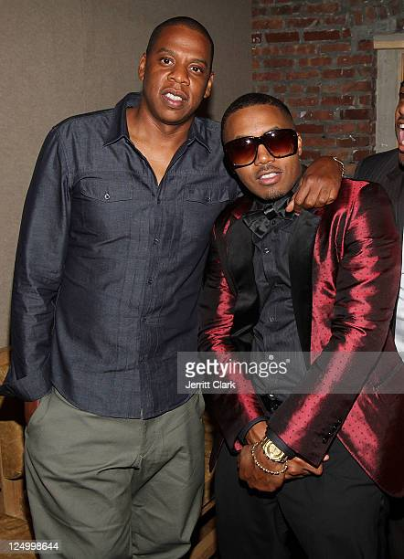 Jay-Z and Nas attends Nas' 38th birthday party at Catch on September 14, 2011 in New York City.