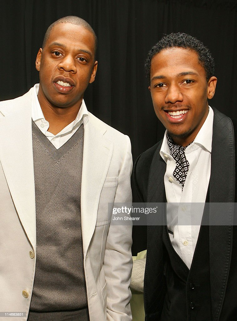 Jay-Z and Nick Cannon during 2007 GM Style - Backstage at GM Pavilion in Detroit, Michigan, United States.