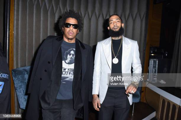 Jay-Z and Nipsey Hussle attend the PUMA x Nipsey Hussle 2019 Grammy Nomination Party at The Peppermint Club on January 16, 2019 in Los Angeles,...
