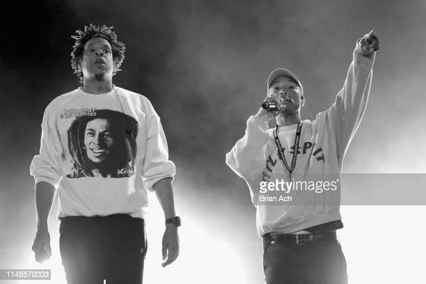 Jay-Z and Pharrell perform onstage at SOMETHING IN THE WATER - Day 2 on April 27, 2019 in Virginia Beach City.