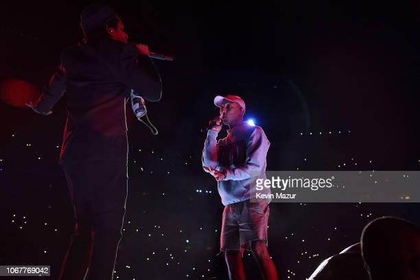 Jay-Z and Pharrell Williams perform during the Global Citizen Festival: Mandela 100 at FNB Stadium on December 2, 2018 in Johannesburg, South Africa.