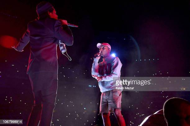 JayZ and Pharrell Williams perform during the Global Citizen Festival Mandela 100 at FNB Stadium on December 2 2018 in Johannesburg South Africa