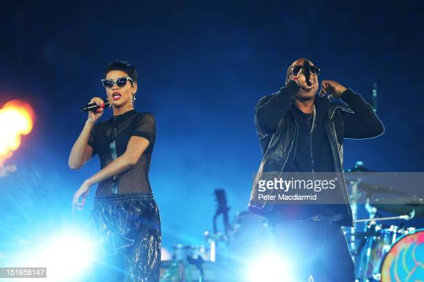 JayZ and Rihanna perform during the closing ceremony on day 11 of the London 2012 Paralympic Games at Olympic Stadium on September 9 2012 in London...