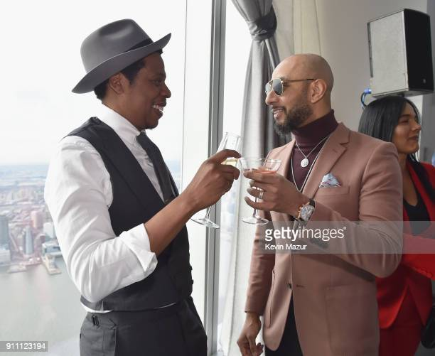 JayZ and Swizz Beatz attend Roc Nation THE BRUNCH at One World Observatory on January 27 2018 in New York City