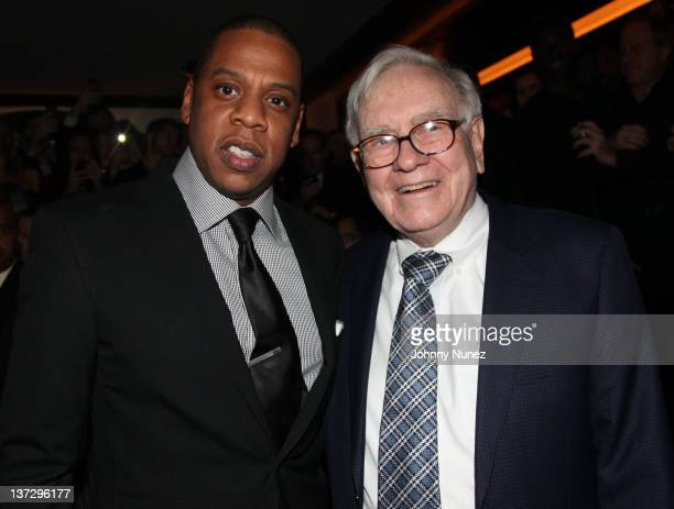 JayZ and Warren Buffett attend the grand reopening of JayZ's 40/40 Club on January 18 2012 in New York City