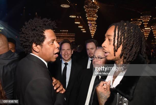 JayZ and Wiz Khalifa attend the City of Hope Spirit of Life Gala 2018 at Barker Hangar on October 11 2018 in Santa Monica California