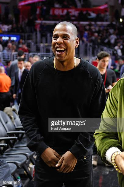 JayZ attend a basketball game between the Miami Heat and the Los Angeles Clippers at Staples Center on January 13 2016 in Los Angeles California